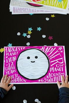 Fun Fact Placemats: Planets Different Styles, Different Colors, White Placemats, Different Planets, Planet Design, Baby Carrots, Host A Party, That Way, Fun Facts