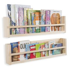 Brightmaison Set of 2 Wooden Wall Shelves Molding Style Strong Sturdy Wood Material 30 inch (No Finish) Floating Bookshelves, Wall Bookshelves, Book Shelves, Wooden Wall Shelves, Wooden Walls, Hanging Shelves, Book Storage Small Space, Ikea Storage, Storage Ideas