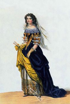 French Nobel Lady from the time of Louis XIV., 17th century clothing.