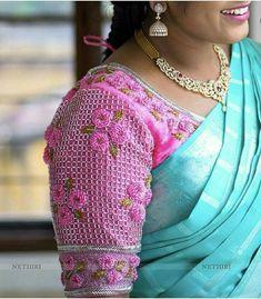 New Saree Blouse Designs, Saree Blouse Patterns, Bridal Blouse Designs, Embroidery Dress, Embroidered Blouse, Beaded Embroidery, Hand Embroidery, Embroidery Designs, Designer Blouse Patterns