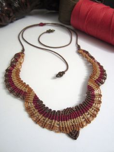 Macrame Necklace Handmade and with gemstones by PapachoCreations