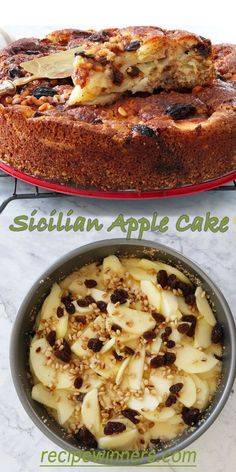 Sicilian Apple Cake The apples melt into the batter creating an almost custard like filling, and the raisins become all 'jammy' and sweet. The pine nuts add a little crunch all the way through Apple Cake Recipes, Baking Recipes, Apple Cakes, Easy Apple Cake, Moist Cakes, Köstliche Desserts, Savoury Cake, Yummy Cakes, No Bake Cake