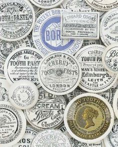 King George - round tooth and soap labels vintage, black and white