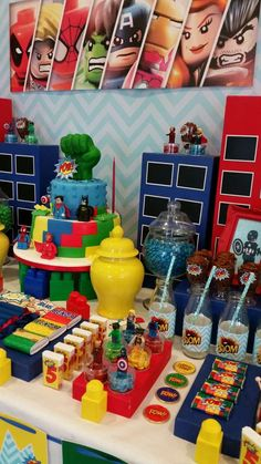 Ideas For Birthday Party Deko Boy Lego Batman Party, Hulk Party, Lego Marvel, Superhero Birthday Party, Birthday Party Themes, Birthday Bash, Fête Spider Man, Lego Themed Party, Avengers Birthday