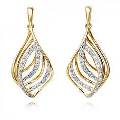 Diamond 0.23ct Gold Leaf Drop Earrings