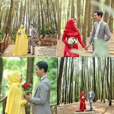 Foto Prewedding Outdoor Hijab di Hutan Pinus Imogiri Jogja