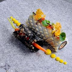 Image may contain: food Chefs, Seafood Recipes, Gourmet Recipes, Gourmet Food Plating, Food Plating Techniques, Bistro Food, Food Sculpture, Food Garnishes, Exotic Food