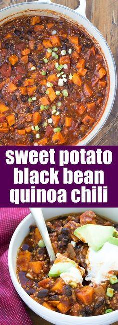 Sweet Potato and Black Bean Chili with Quinoa. Vegetarian, vegan option, fast an… Sweet Potato and Black Bean Chili with Quinoa. Vegetarian, vegan option, fast and easy to make! Chili Recipes, Veggie Recipes, Whole Food Recipes, Healthy Recipes, Recipes With Quinoa, Vegan Black Bean Recipes, Beans Recipes, Meals With Quinoa, Free Recipes