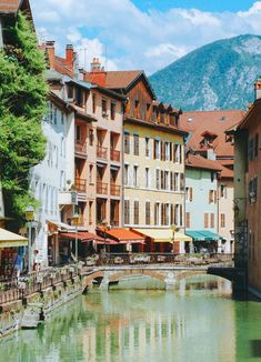 Pastel buildings in Annecy old town, France