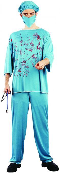 Costume Halloween chirurgo insanguinato: Questo travestimento di Halloween da chirurgo insanguinato è per adulti e consiste in una maglia, die pantaloni, un berretto e una mascherina di colore verde acqua (stetoscopio e scarpe...