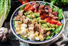 Traditional Cobb Salad made the Keto way. Spring Mix, How To Make Salad, Good Fats, Blue Cheese, Saturated Fat, Grilled Chicken, Cobb Salad, Spinach, Meal Planning