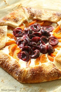 Flaky pie crust filled with creamy ricotta, tart cherries and sweet apricots. This rustic Apricot and Cherry Ricotta Galette is my favorite lazy pie.