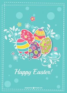 Happy Easter card with colorful eggs Free Vector Easter Images Clip Art, Easter Art, Easter Crafts, Easter Eggs, Happy Easter Wishes, Happy Easter Greetings, Easter Templates, Easter Printables, Happy Easter Wallpaper