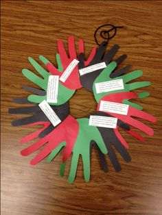 Students can read the seven principles of Kwanzaa from this wreath each night of the celebration.