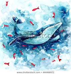 Watercolor Whale illustration by Librebird on Creative Market - Inspiring art - Whale Painting, Watercolor Whale, Watercolor Animals, Abstract Watercolor, Watercolor Paintings, Watercolour, Blue Abstract, Whale Illustration, Graphic Illustration