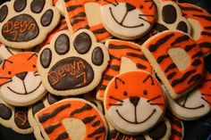 I think the tiger faces are becoming my signature cookie! A friend ordered these for her daughter's school birthday snack. School Birthday Snacks, Monster Birthday Parties, Tea Party Birthday, Birthday Cookies, Cupcake Cookies, Boy Birthday, Birthday Cake, Tiger Cupcakes, Tiger Cookies