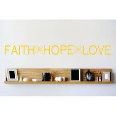 "Design With Vinyl Faith Hope Love Wall Decal Color: Yellow, Size: 10"" H x 40"" W x 0.16"" D"