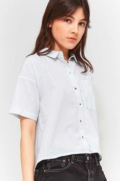 Slide View: 1: Urban Outfitters - Chemise courte rayée style années 80