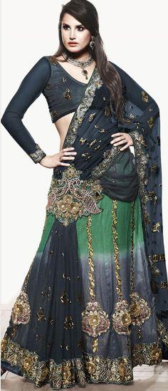 Midnight Deep Navy Blue Net Lehenga Style Saree with Blouse