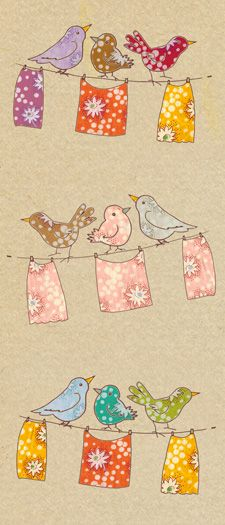 fabric scrap birds (photoshopped) - so cute- Would love this hanging in my laundry room!