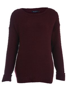 Burgundy Garter Stitch Sweater        Price: $61.00      Color: BURGUNDY      Item code: 13J60KBUR