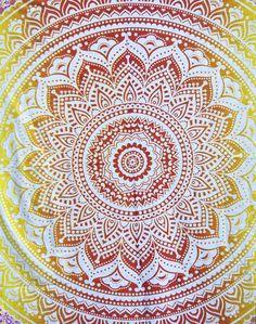 Gradient Sunset Round Mandala Tapestry