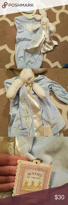 Baby boy onsie, hat and bunny blanket Absolutely precious and great baby gift 0-3 months Bunnies by the Bay One Pieces Bodysuits