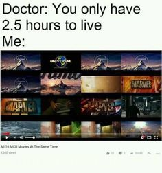 A complete marathon on the Marvel Cinematic Universe before I die? <<< After Endgame it should be 3 hours xd Funny Marvel Memes, Marvel Jokes, Dc Memes, Avengers Memes, Marvel Dc Comics, Marvel Avengers, Funny Memes, Hilarious, Avengers