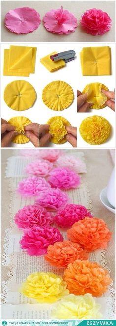 Diy Paper Crafts diy paper arts and crafts How To Make Paper Flowers, Tissue Paper Flowers, Diy Flowers, Flower Decorations, Flower Paper, Flower Diy, Diy Crafts Videos, Diy Crafts For Kids, Arts And Crafts