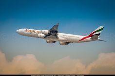 Emirates Airbus A340-541 (registered A6-ERC) departing Dubai