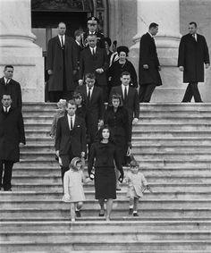 Mourning Pres. John F. Kennedy ~ The Kennedy family walks down the steps of the U.S. Capitol. Washington D.C., November 1963. #JFK