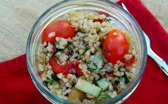 Grain and Veggie Salad Over Shredded Cabbage