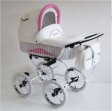Baby Fashion Scarlett Retro Baby Travel System - White - White Wicker , Cheap Baby Accessories in Poole, Dorset and UK Landau Vintage, Vintage Pram, Pram Stroller, Baby Strollers, Travel Systems For Baby, Baby Doll Nursery, Prams And Pushchairs, Scarlett, Retro Baby