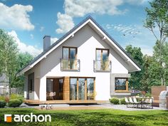 Casa cu 4 dormitoare la mansarda vedere spate Small House Plans, Home Fashion, New Homes, How To Plan, Mansions, House Styles, Home Decor, Houses, Little House Plans