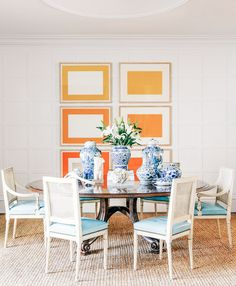 Colorful dining space with modern and vintage inspirations