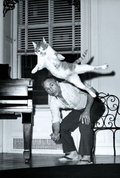 Happy Caturday from The New York Public Library's Library for the Performing Arts! In this rare 1964 Martha Swope photo from the Jerome Robbins Dance Division (unearthed by our own Jeremy Megraw),. George Balanchine, Crazy Cat Lady, Crazy Cats, I Love Cats, Cool Cats, Animals And Pets, Cute Animals, Men With Cats, Cat People