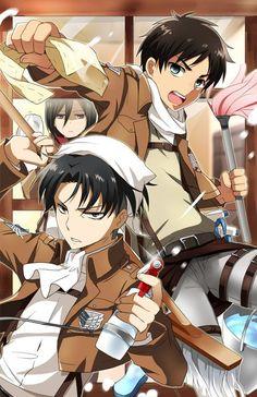 Shingeki no kyojin- Mikasa Ackerman, Eren jeager and Levi ackerman xD