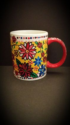 Hand Painted Flower Cup, Front View By Kimberley Holland