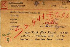Margot Frank's Westerbork Camp I.D. card. •Netherlands Red Cross•