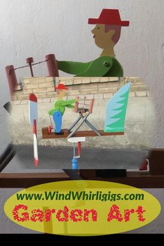 Whismical whether vane with siluette marionette. A man sawing wooden log. Lumberjack doll is driven by power of a wind. Wood Log Crafts, Diy Wood Projects, Wood Toys Plans, Woodworking Projects That Sell, Wind Spinners, Paper Crafts Origami, Diy Interior, Wooden Diy, Garden Art