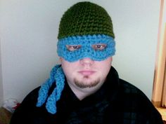 f4c48453d84 It s a crocheted mutant ninja turtle hat facemask.