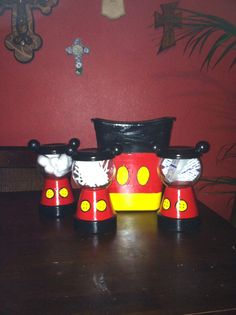 Mickey Mouse clay pot craft my daughter made for the boys bathroom