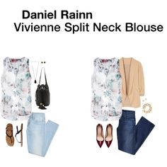 I like the colors of the blouse. Could easily be paired with a cardigan for work and let loose for a date.