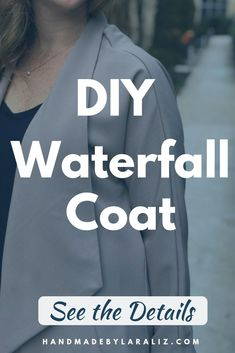 The lola coat is a waterfall coat made with lots of ease and swing. A spring coat this one is a beautiful addition to work wear collection. Coat Patterns, Clothing Patterns, Sewing Patterns, Sewing Ideas, Sew Your Own Clothes, Waterfall Jacket, Long Sleeve And Shorts, Diy Tops, Jacket Pattern