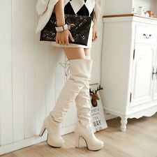 Mode Women Over Knee Thigh Boots Block High Heel Platform Lace Decor Knight Boot