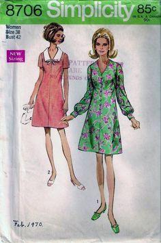 Vintage 60s 70s Dress Sewing Pattern Simplicity 8706 B42 Plus Size 38