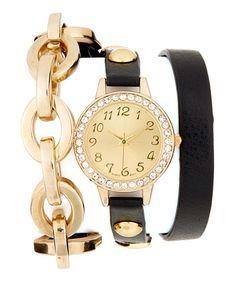 Look what I found on #zulily! Gold & Black Chain Wrap Watch #zulilyfinds