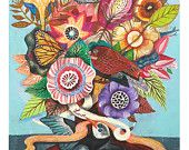 Tree of Love - 11 x 14 inches digital Print.  art painting flowers, bohemian, folk, funky, naive, primitive.