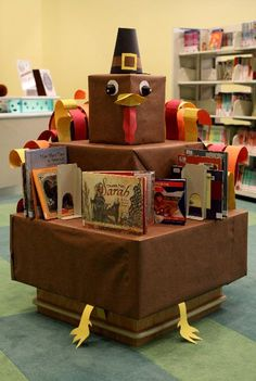 Thanksgiving turkey book display--Cute display for the school library.