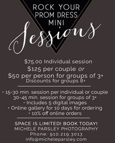 Here's the information on our different prom packages! #prom2016 @Micheleparsleyphotography